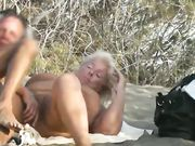 Amateur nudist swinger couples make sex on Spanish beach