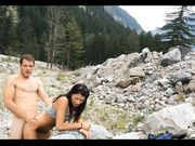 Exhibitionist couple having sex doggystyle outdoor in the mountains