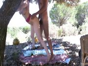 Amateur exhibitionist couple fucking outdoor at the picnic