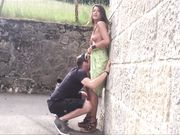 Tourist couple doing outdoor sex in a public place