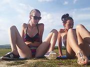 Two Horny Girls Nude Masturbating Outdoor in Open Field